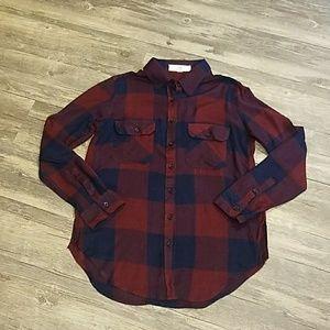 Feminine plaid button-down shirt